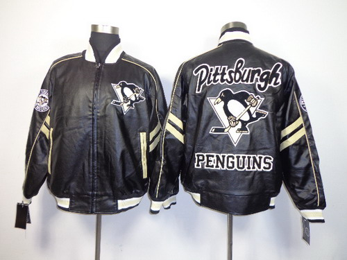 Pittsburgh Penguins Blank Black Leather Coat